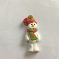 Snowman with Red & Green Scarf